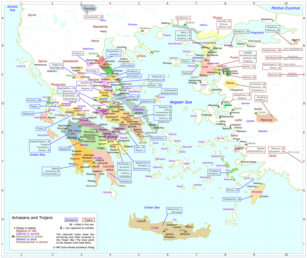 Map ACHAEANS and TROJANS Greek Mythology Link