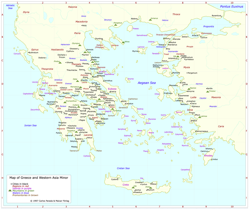 Map of Greece and Western Asia Minor Greek Mythology Link