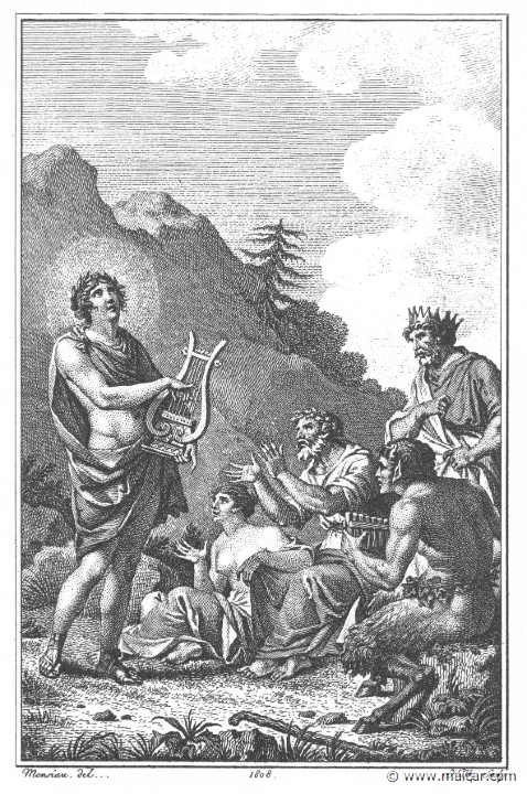 Behind Tmolus Who Applauds Apollo Is King Midas To The Right Pan Holding His Flute Villenave02097 And Drawing By