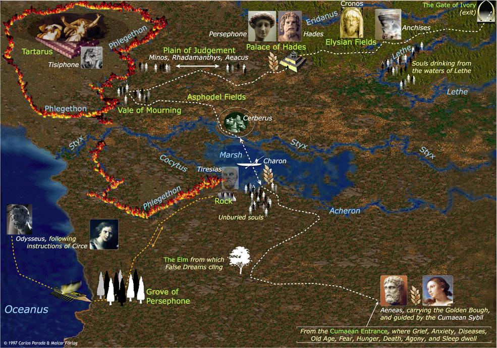 Map of the Underworld - Greek Mythology Link